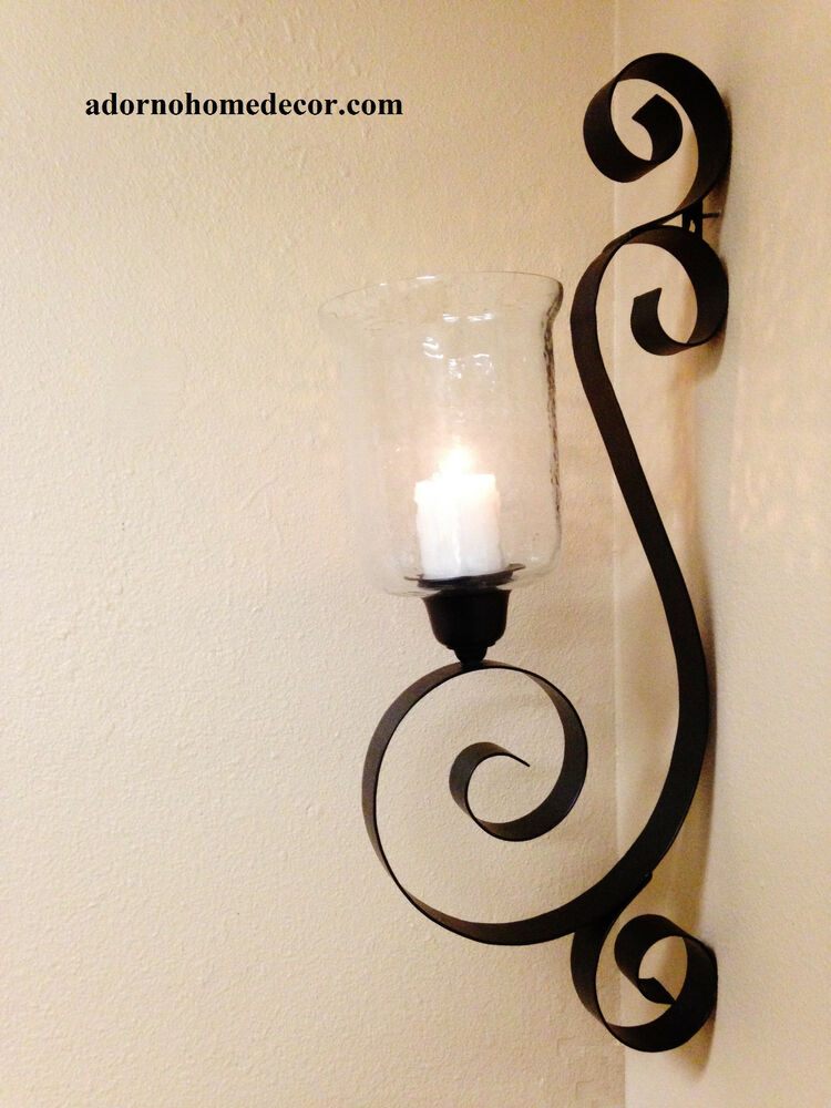 Iron metal wall sconce rustic antique vintage shabby unique chic candle decor ebay - Decorative wall scones ...