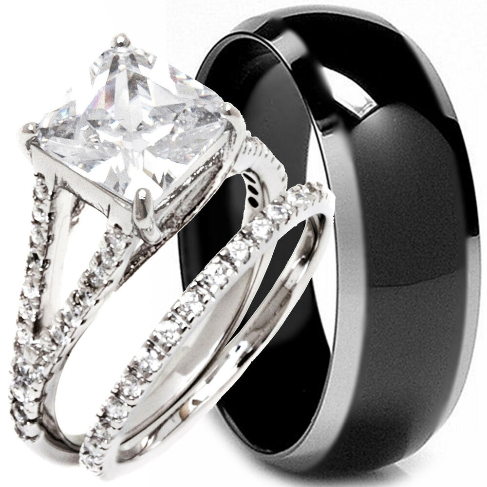 3 pcs his hers black titanium and sterling silver wedding