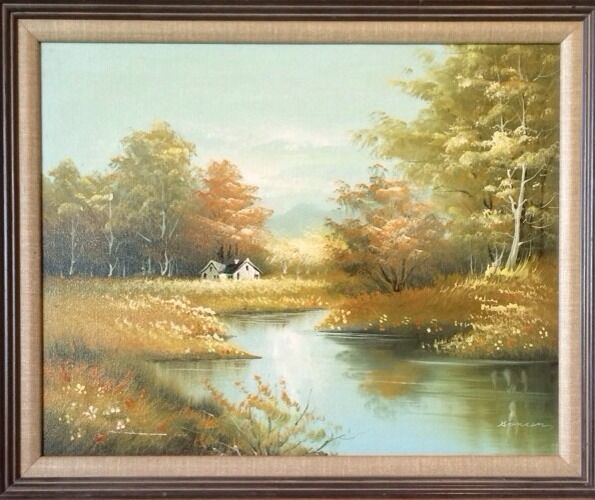 Vintage Painting Country House Stream Trees On Canvas