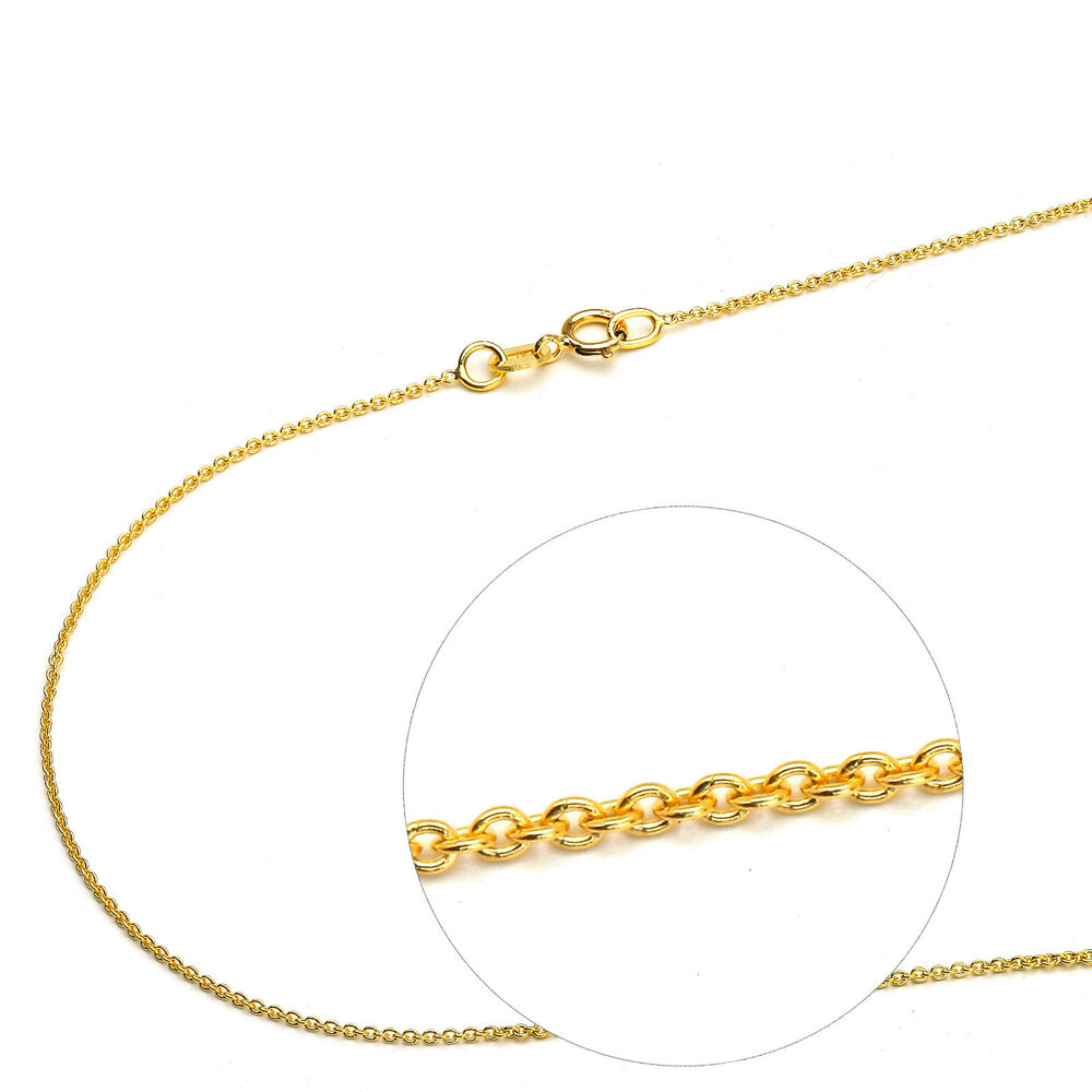 Thin Gold Chain Bracelet: 14K Solid Yellow Gold 1mm Rolo Thin Chain Necklace