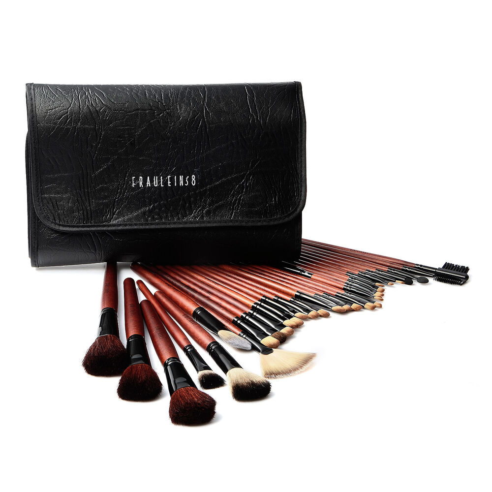 31tlg wolle make up pinsel set echthaare brush set pinselset etui ebay. Black Bedroom Furniture Sets. Home Design Ideas