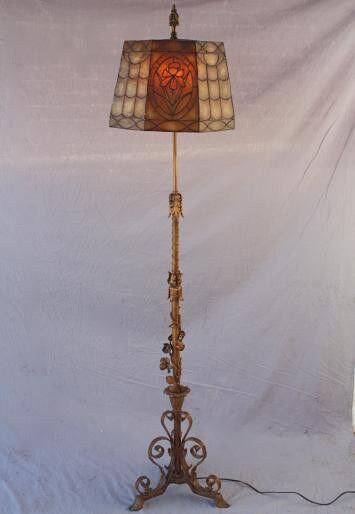 1920s Ornate Floor Lamp Mica Shade Spanish Revival Antique