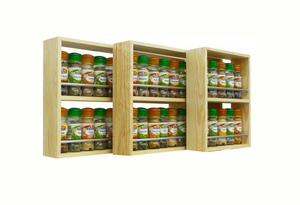 SOLID PINE SPICE RACK 2 SHELVES KITCHEN WORKTOP WALL