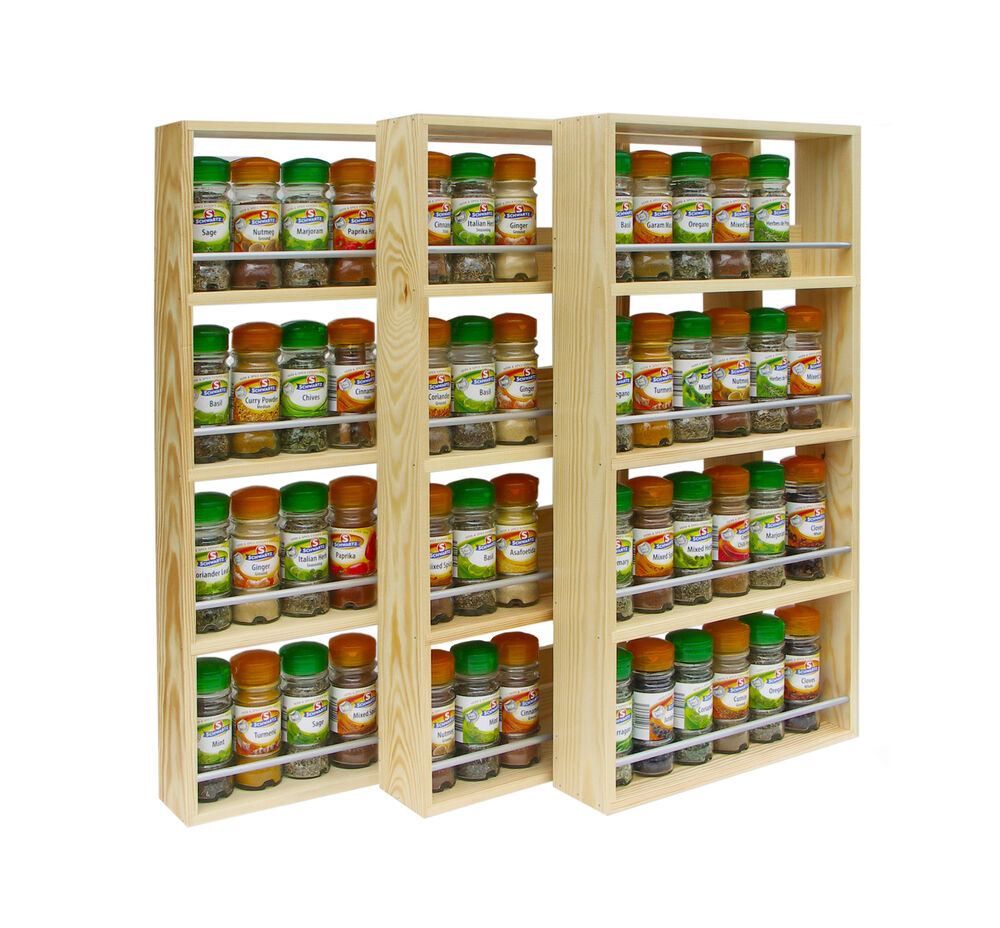 SOLID PINE SPICE RACK 4 SHELVES KITCHEN WORKTOP WALL