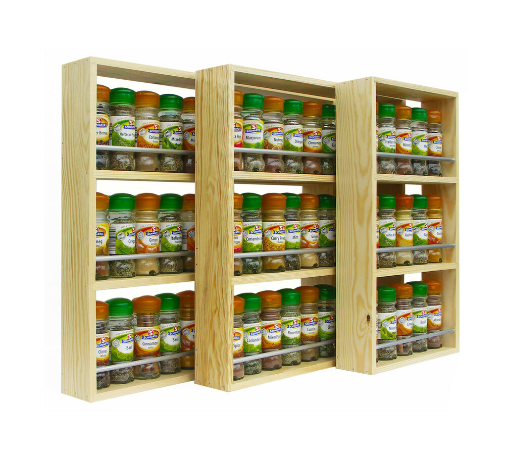 Solid pine spice rack 3 shelves kitchen worktop wall mounted wooden