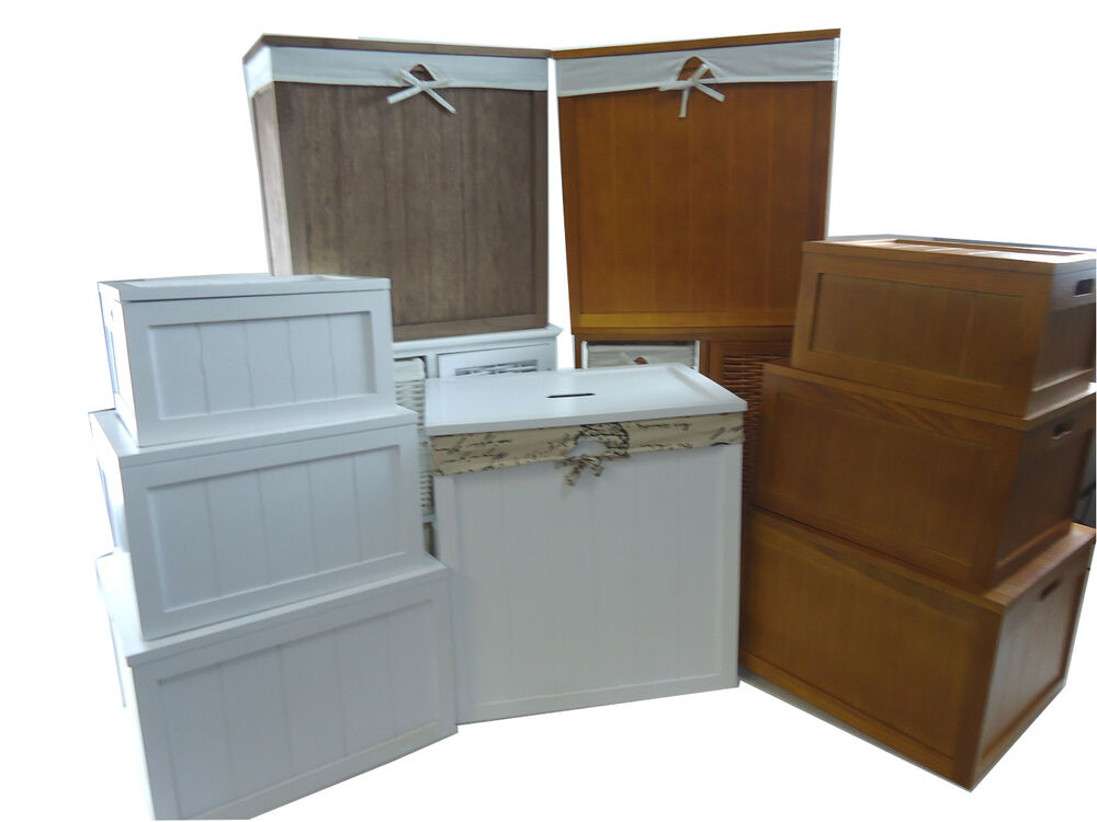 Wooden Brown White Kids Playroom Toy Box Chest Bathroom