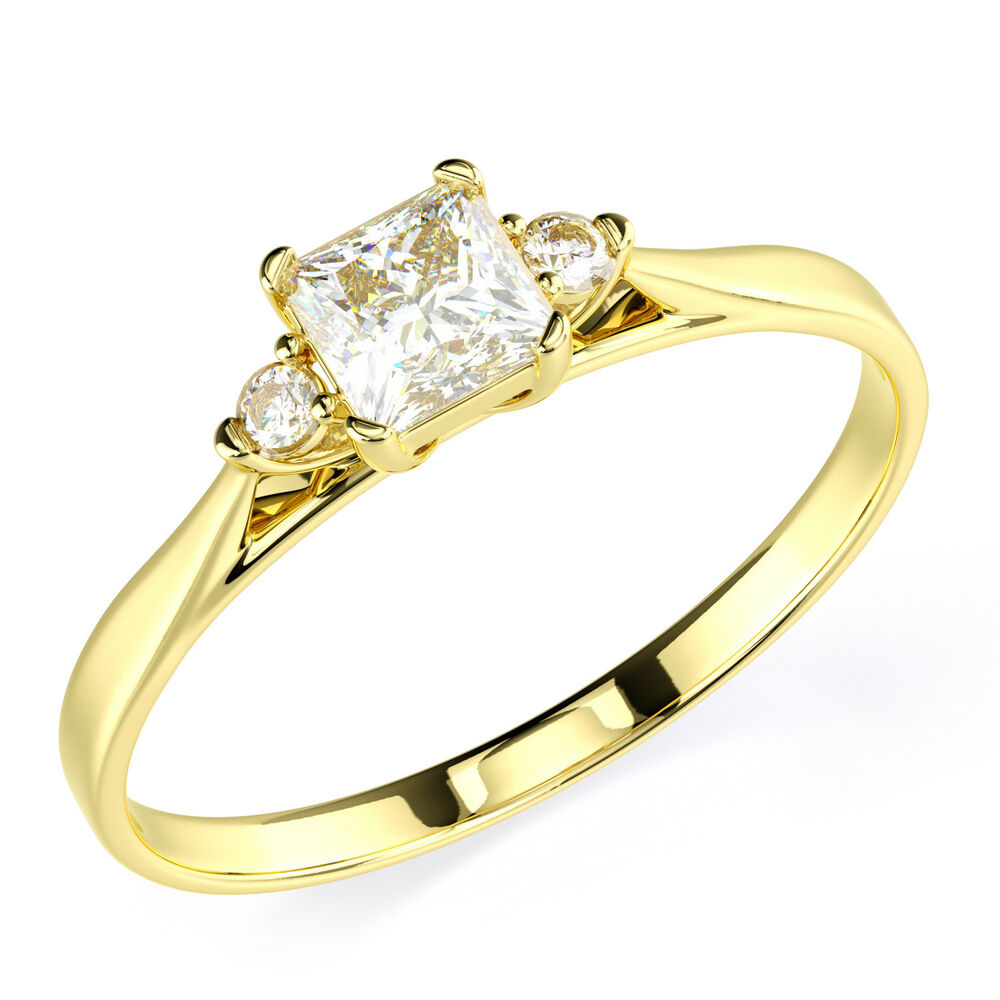 14K Solid Yellow Gold CZ Cubic Zirconia Three Stone Engagement Promise Ring