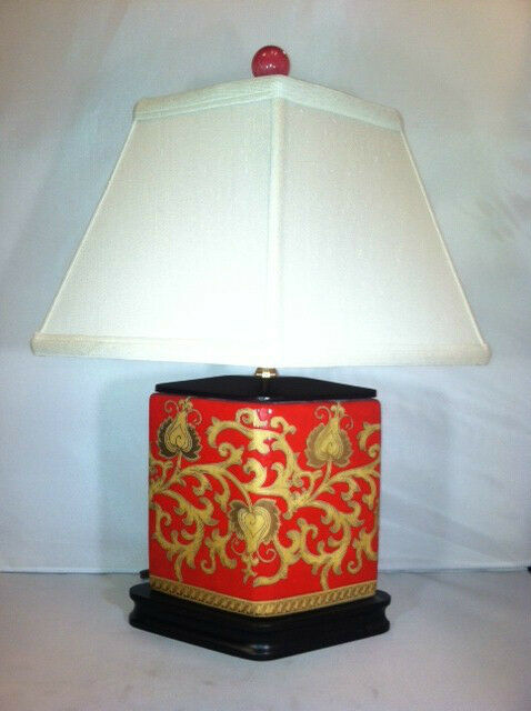 Red Oriental Table Lamp Gold Vintage Japanese Asian Design