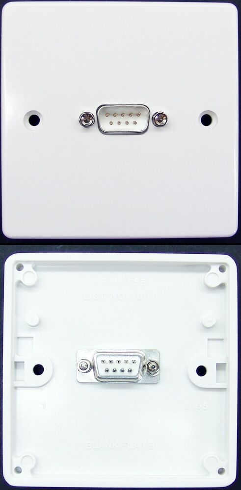 Wall Face Plate 1 Gang Serial Rs232 Db9 Male 9 Pin