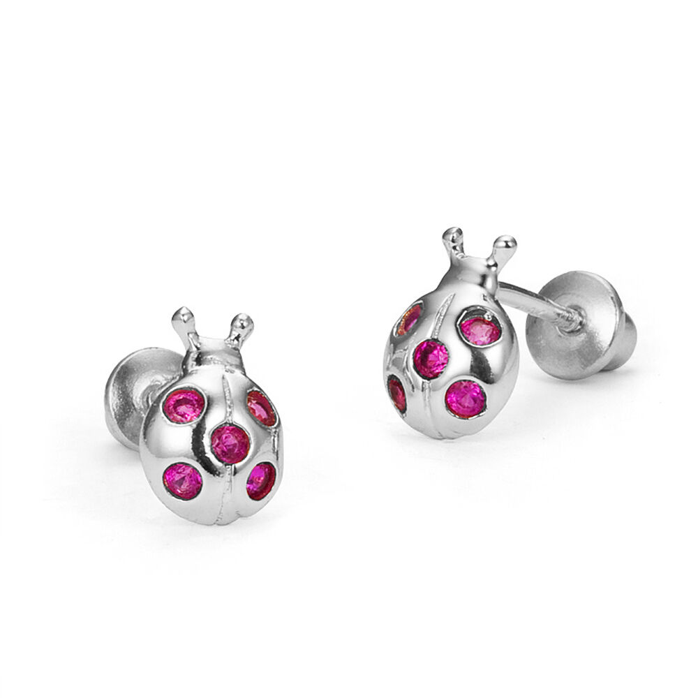 925 Sterling Silver Red Lady Bug Children Screw Back Baby ...