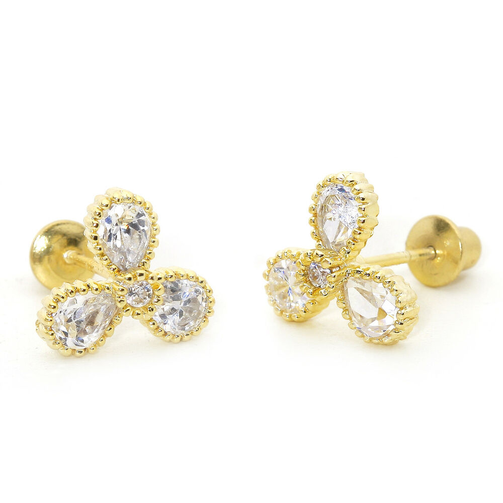 14k Gold Plated 3 Petal Flower Children Screw Back Baby ...