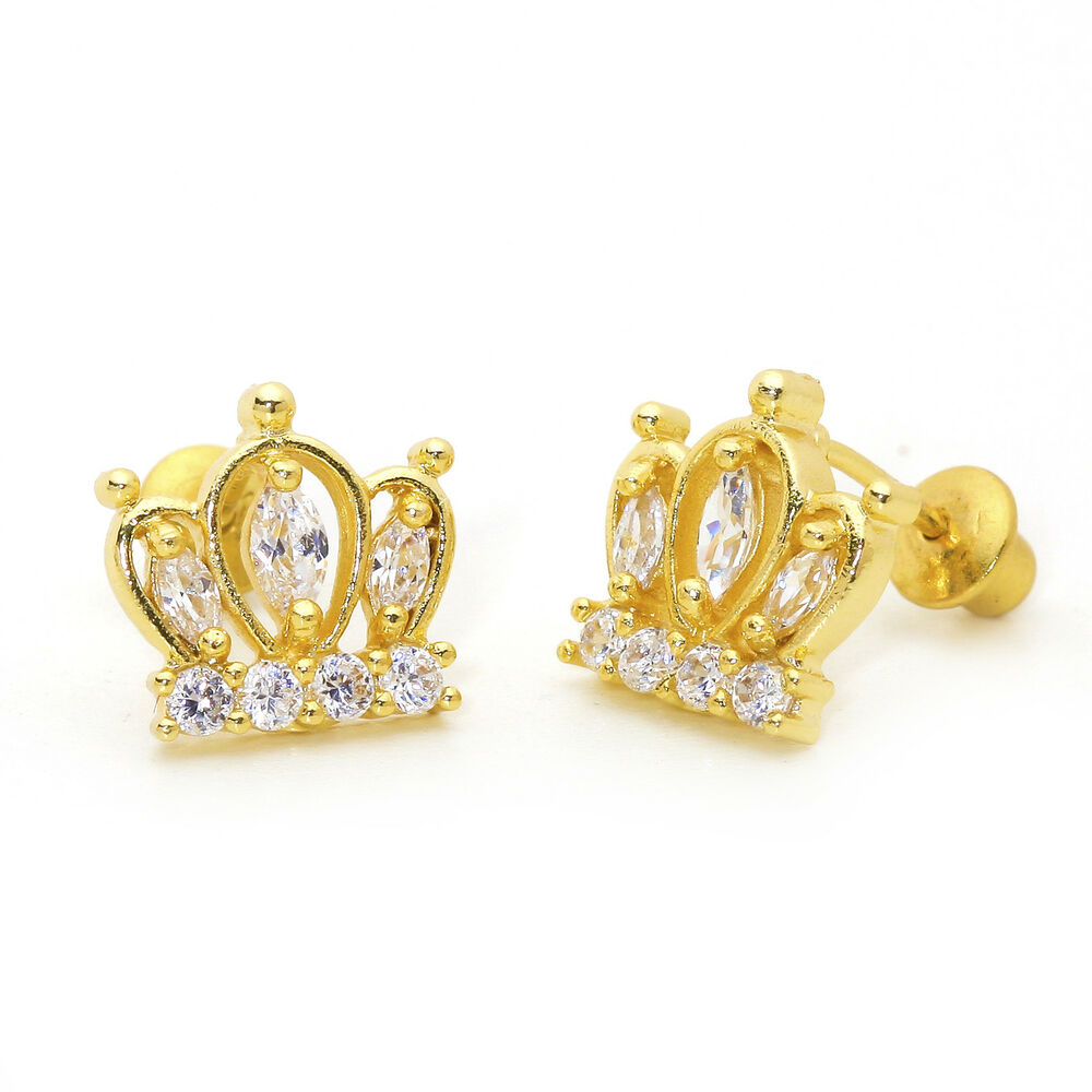 14k gold earrings for toddlers 14k gold plated marquise crown children screwback 3748