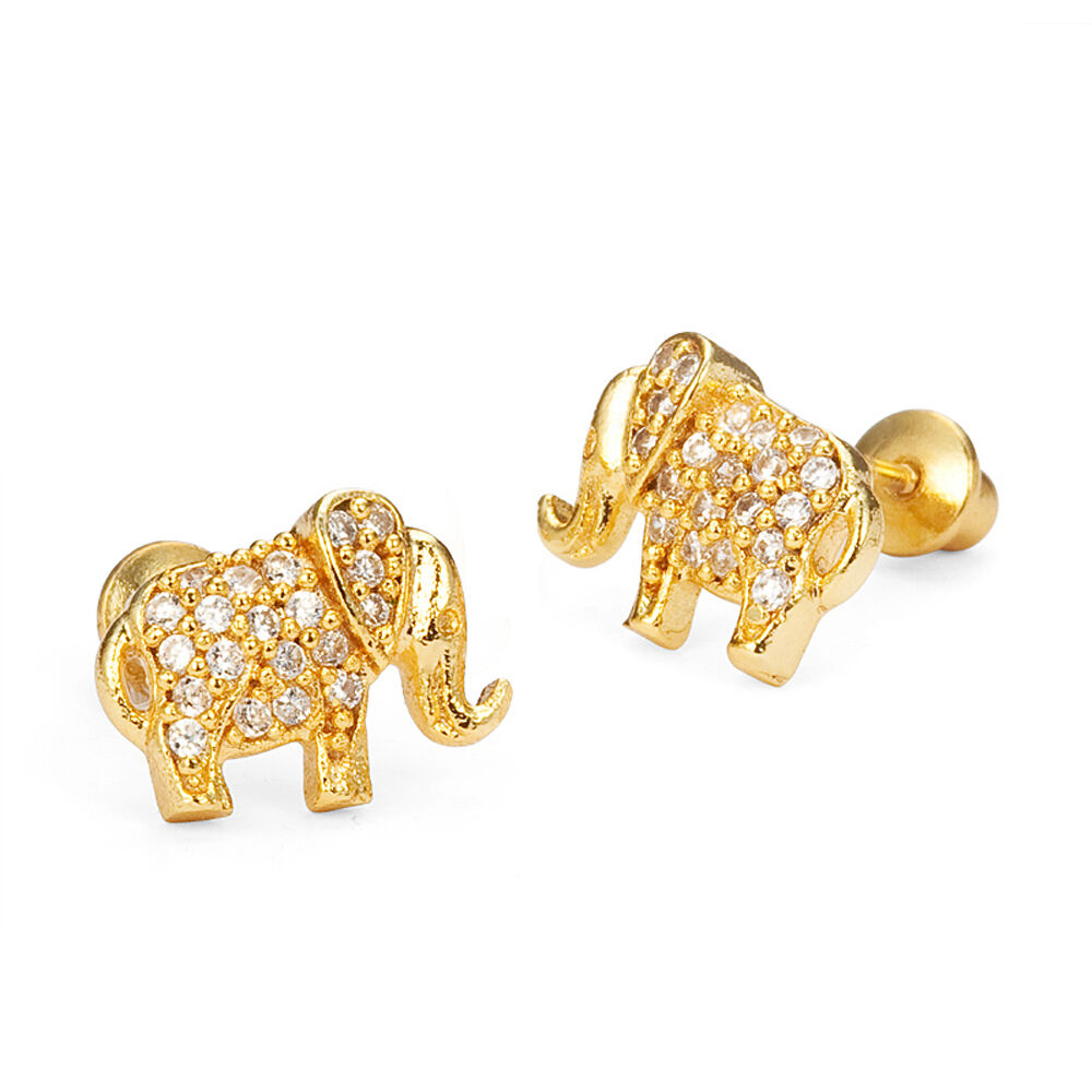 14k Gold Plated Baby Elephant Children Screw Back Baby ...