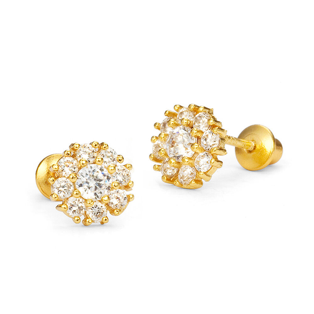 14k Gold Plated Clustered Clear Flower Children Screwback ...