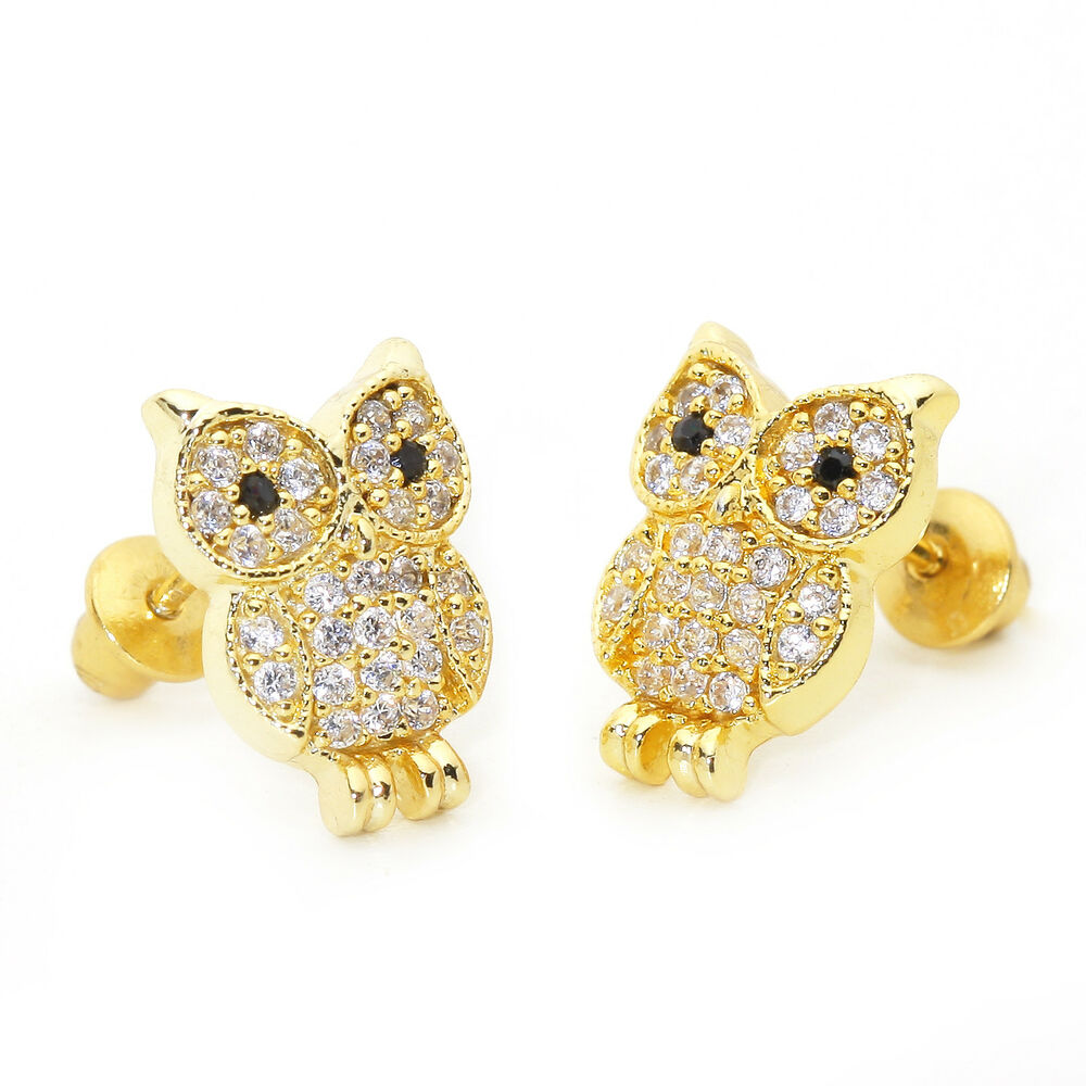 baby earrings with backs 14k gold plated baby owl children back baby 1769