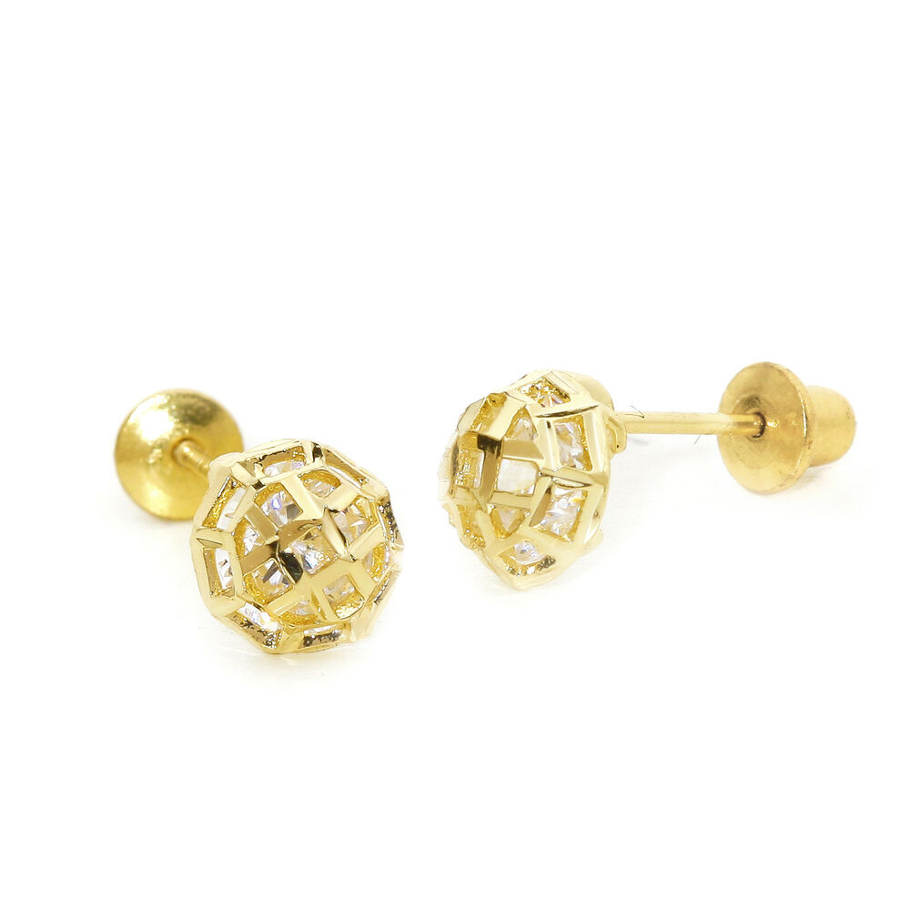 14k gold plated cut children screwback baby