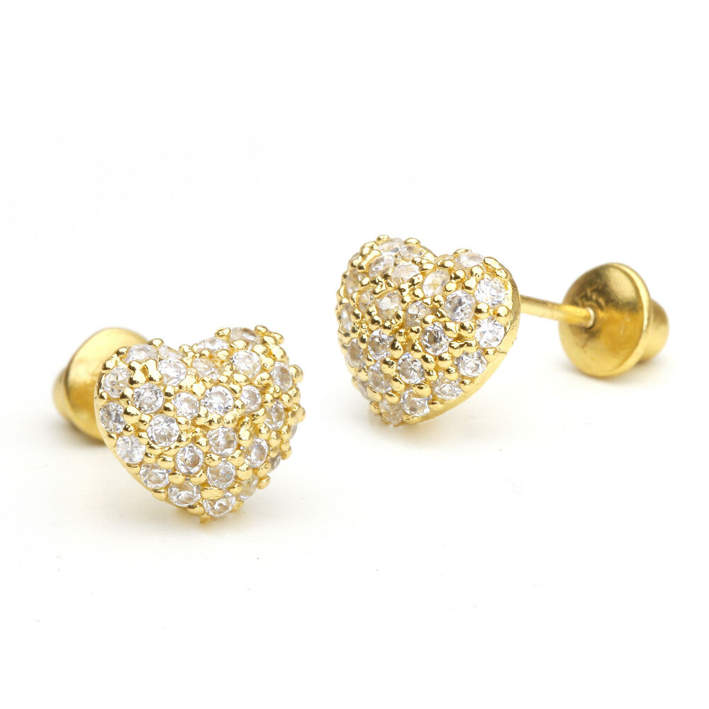 14k Gold Plated Domed Heart Pave Children Screwback Baby ...