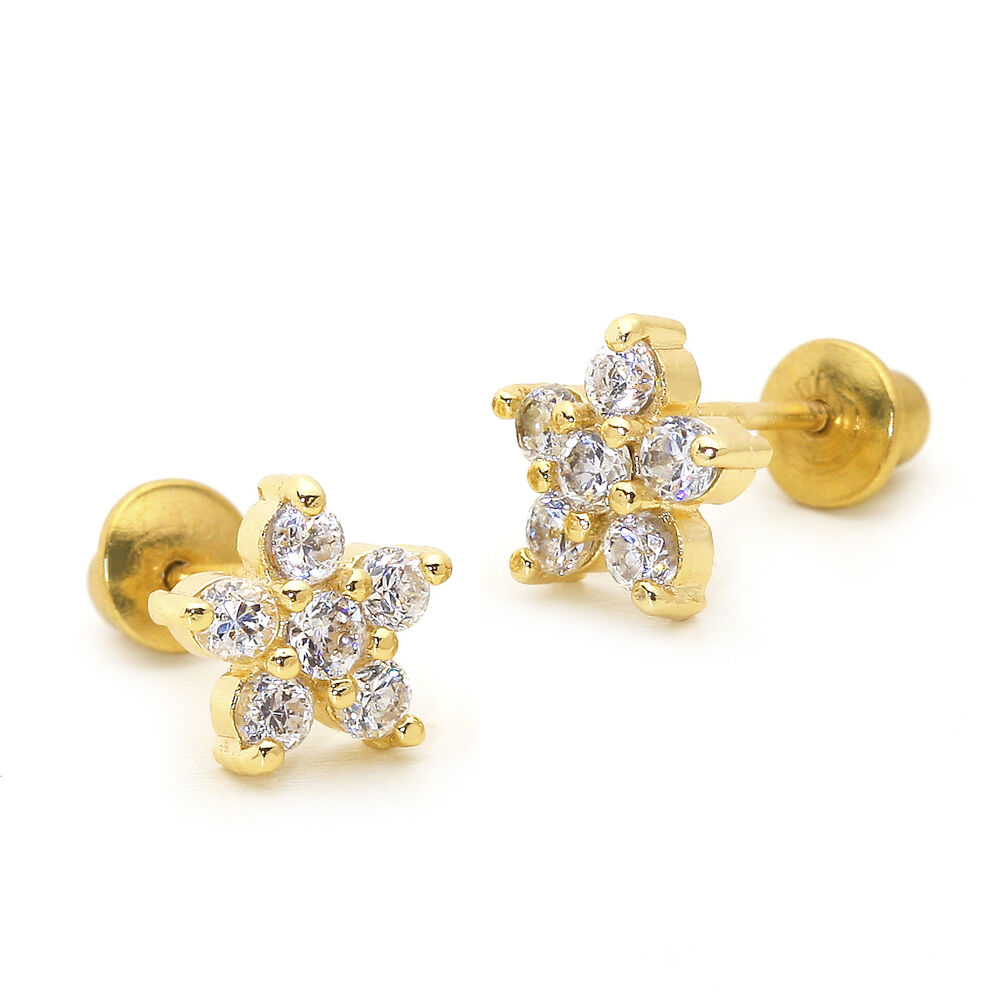14k Gold Plated April Flower Children Screw Back Baby ...
