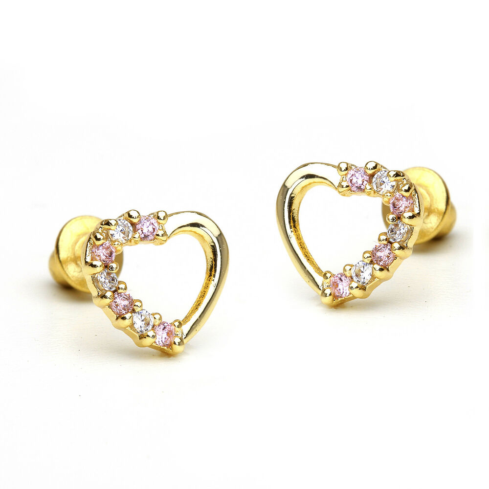 14k Gold Plated Pink Open Heart Children Screwback Baby ...