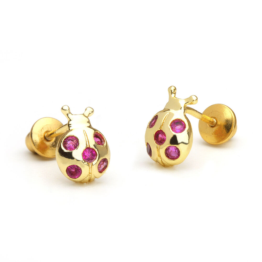 14k Gold Plated Lady Bug Children Screw Back Baby Girls ...