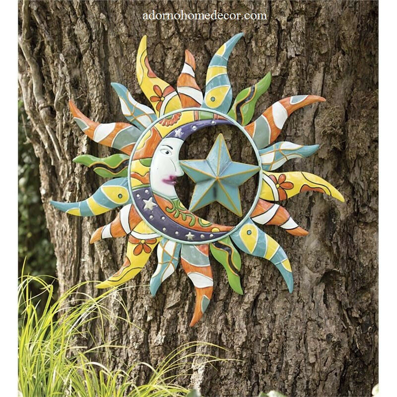 Metal colorful moon sun stars decor garden indoor outdoor for Outdoor metal wall art