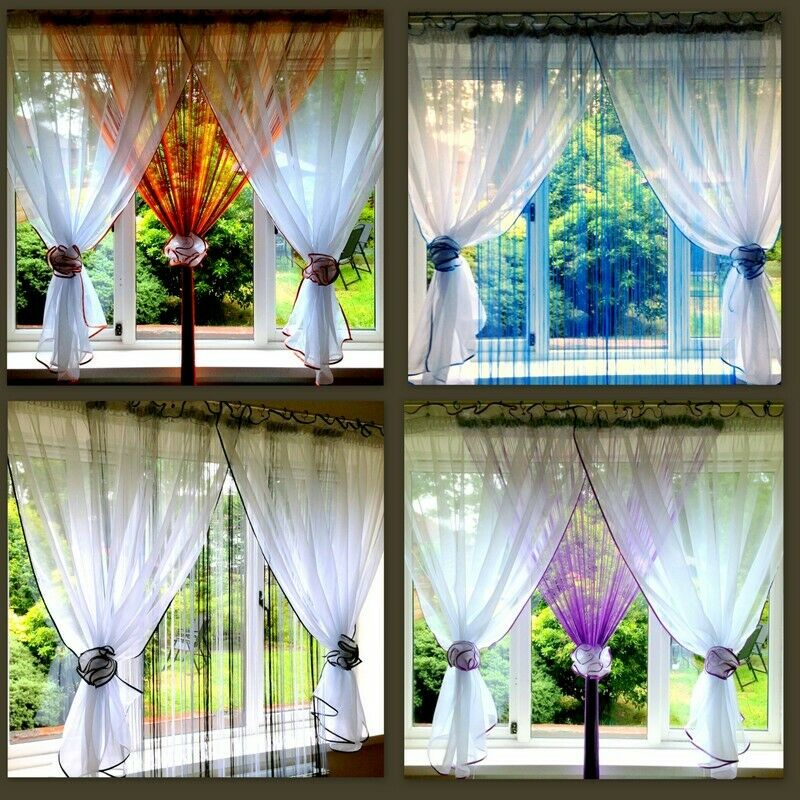 Beautiful White Voile Net Curtain With String Curtains Ebay