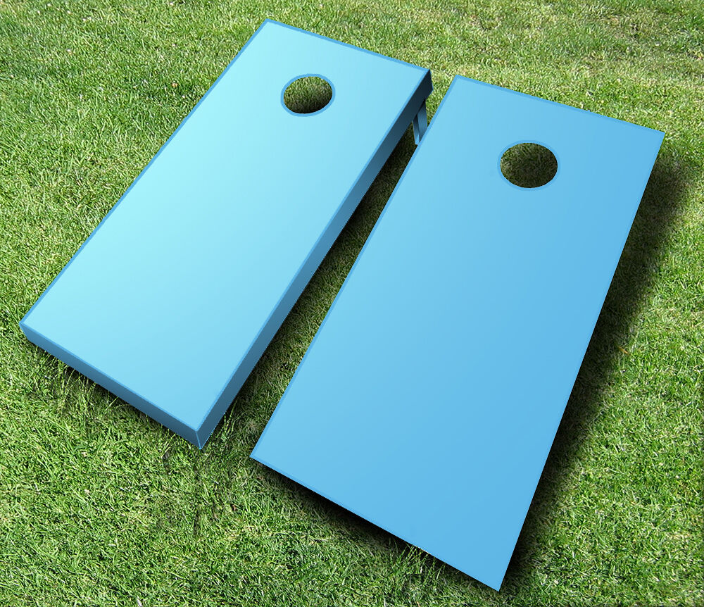Baby Blue Painted Cornhole Boards Set Bean Bag Toss 8