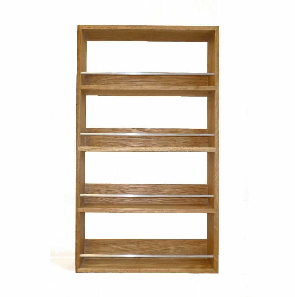 Solid Oak Spice Rack 4 Shelves Kitchen Worktop Wall