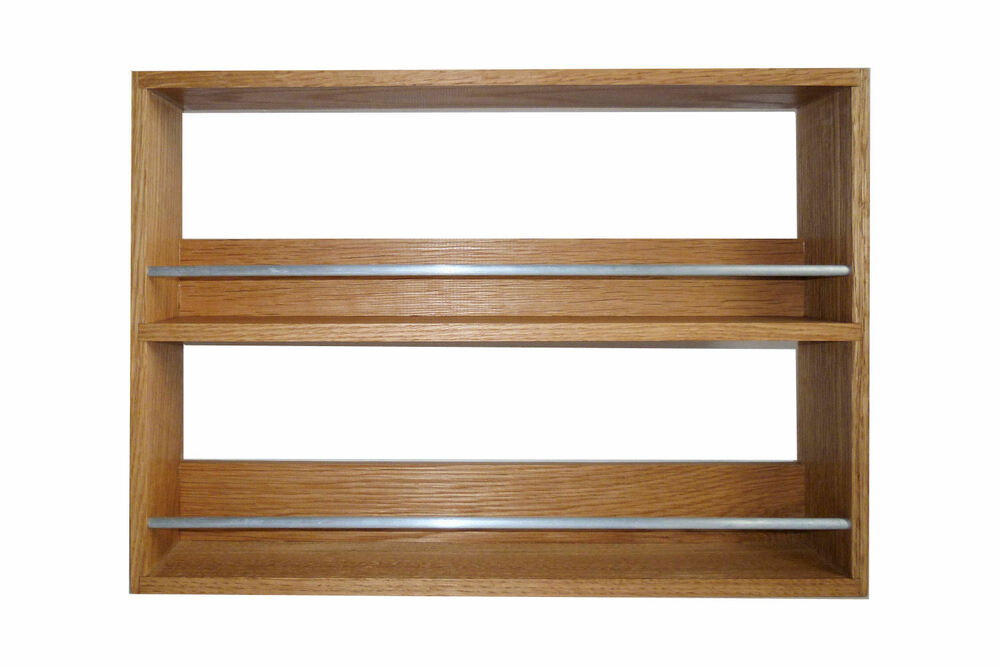 Solid Oak Spice Rack 2 Shelves Kitchen Worktop Wall