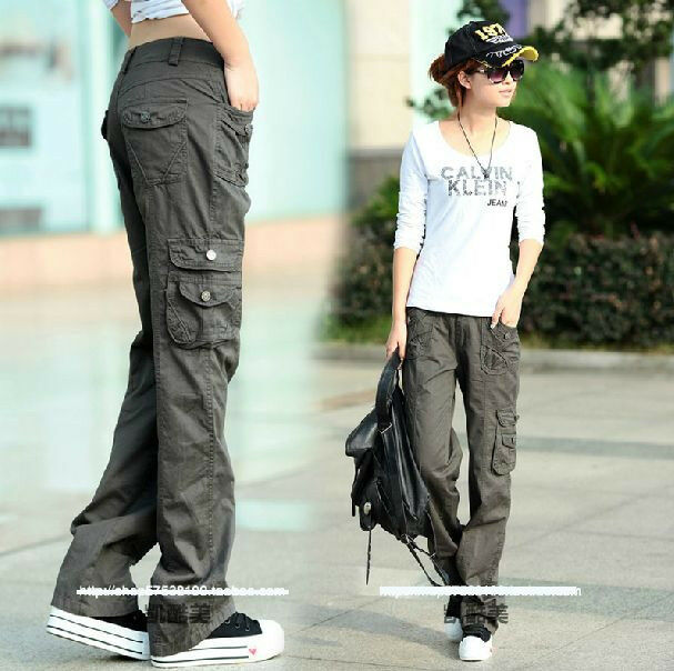 Womens Military Army Fashion Green Cargo Pocket Pants Leisure Trousers Outdoor | eBay