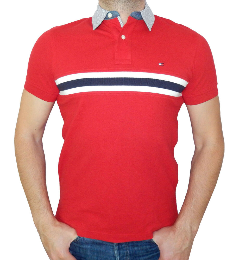 Tommy Hilfiger Men Polo Mesh T-Shirt 100% Cotton, Short ...
