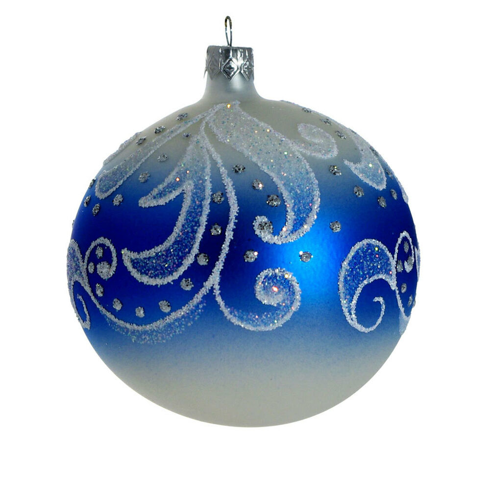 Quot frosty pattern hand blown glass christmas ornament made