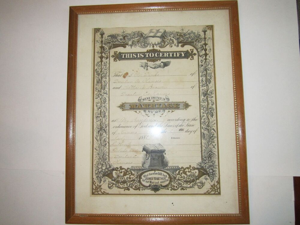 Vintage Marriage Certificate Washoe County Nevada: 1880'S KANSAS MARRIAGE CERTIFICATE