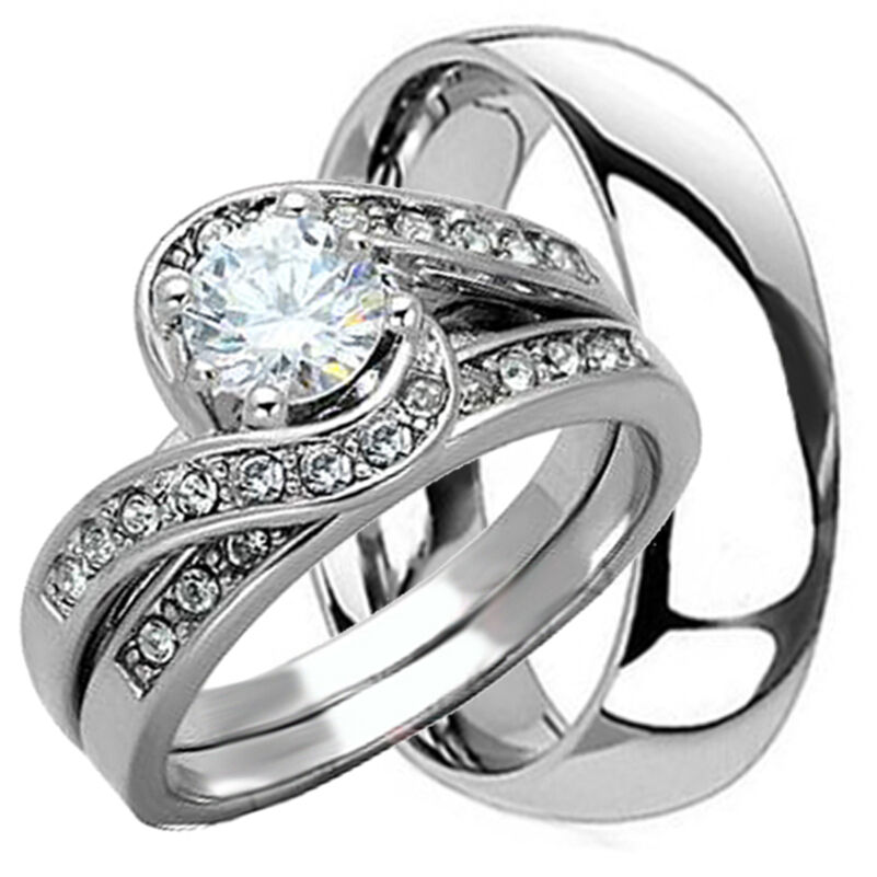 Matching Bands: 3 PCS HIS AND HERS TITANIUM 925 STERLING SILVER WEDDING
