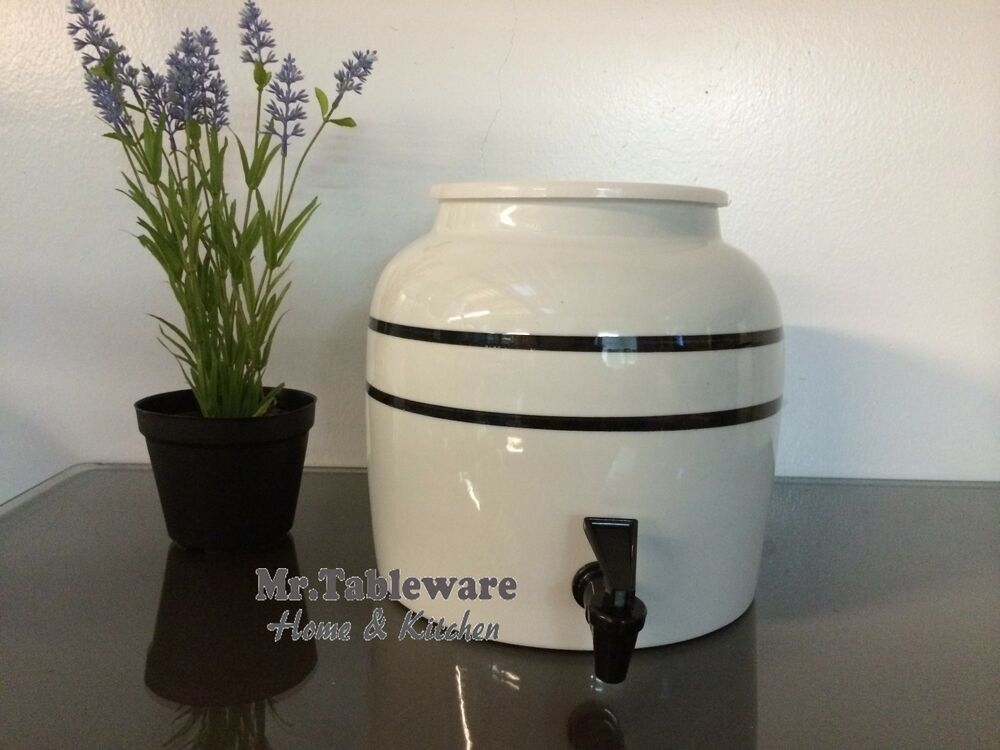 Water Crock Black Stripe Porcelain Ceramic Water Dispenser