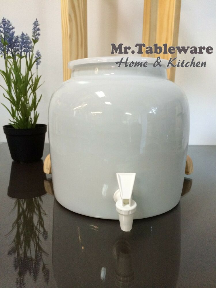 Water Crock Plain White Porcelain Ceramic Water Dispenser