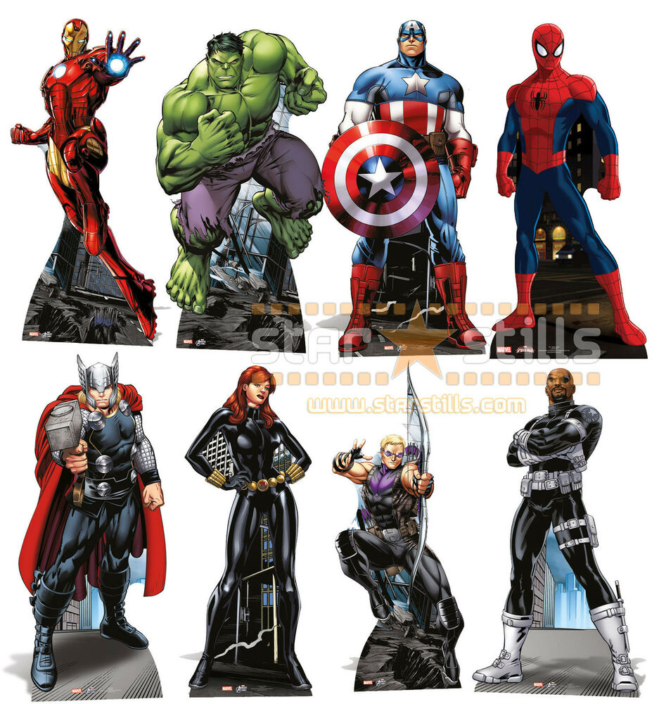 Official marvel the avengers super hero lifesize cardboard cutout standup comic ebay - Heros avengers ...