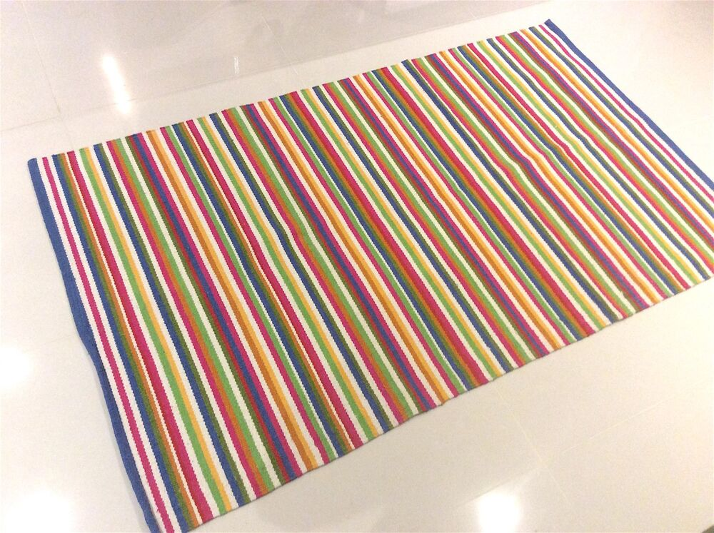 Multi Colour Striped Funky Yellow Blue Red White Cotton