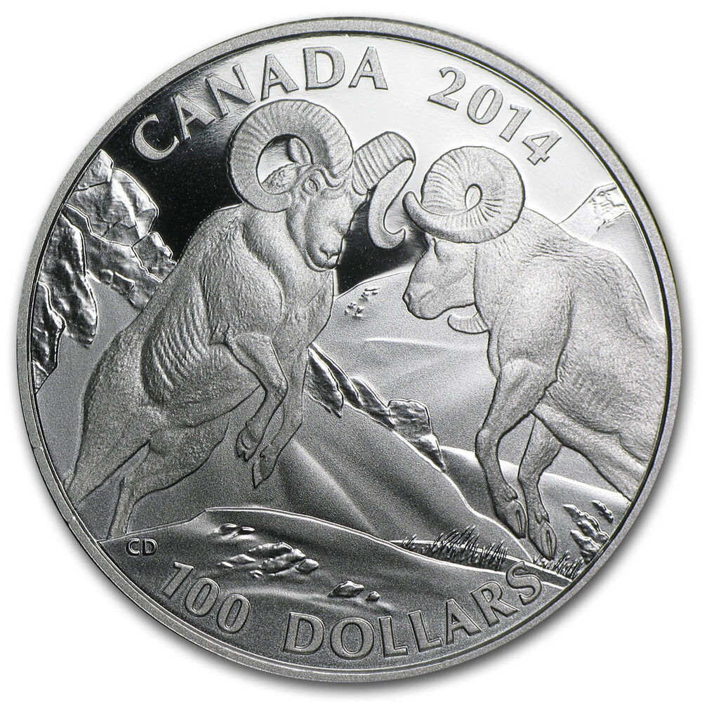 2014 1 Oz Silver Canadian 100 Coin Rocky Mountain