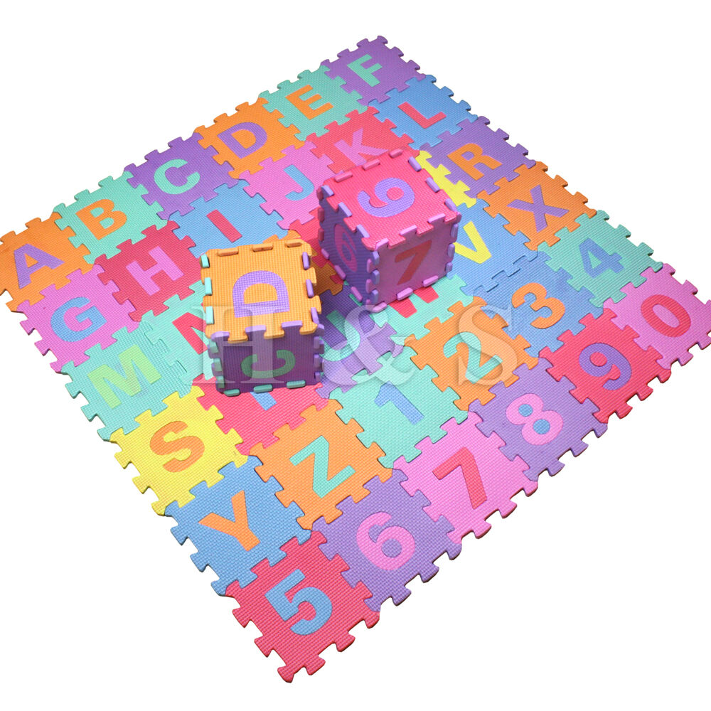 36pcs soft eva foam baby children kids play mat alphabet number puzzle jigsaw ebay