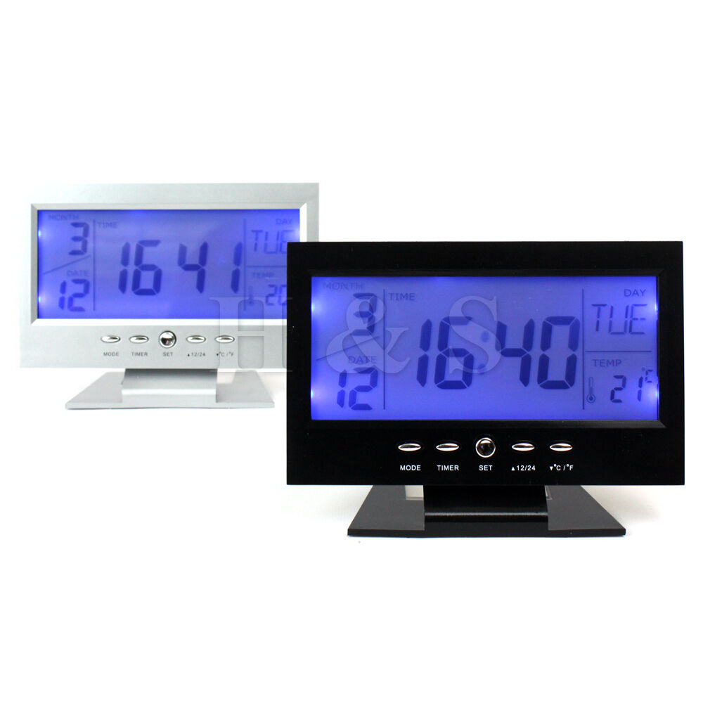 world time modern digital alarm clock lcd led backlight. Black Bedroom Furniture Sets. Home Design Ideas