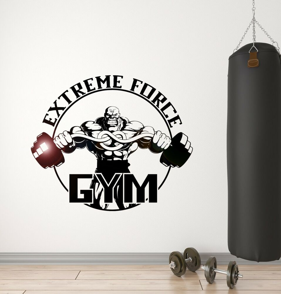 Wall Sticker Vinyl Decal Gym Extreme Force Bodybuilding