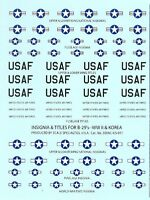 1/285 1/300 Decals B29 Insignia & Titles WWII & Korea Check Your 6  # 300-US-011