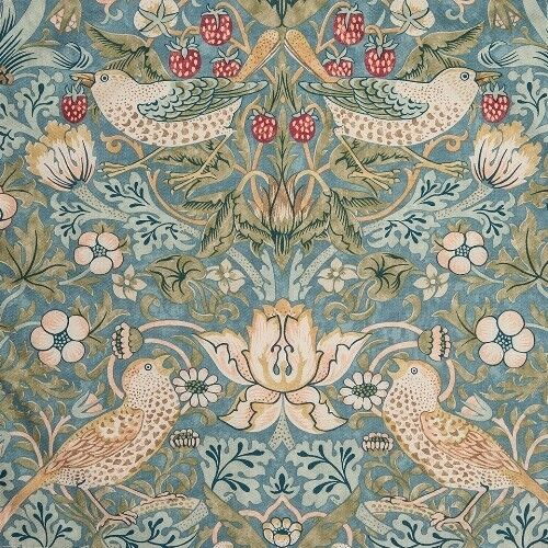 William Morris Strawberry Thief Slate Curtain Fabric Sold