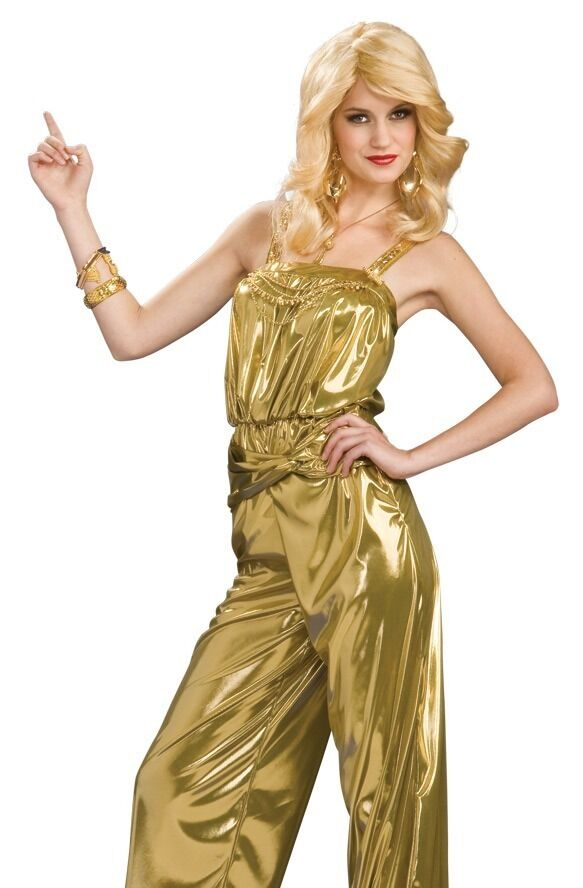 retro glam 60s 70s 80s disco diva star gold jumpsuit