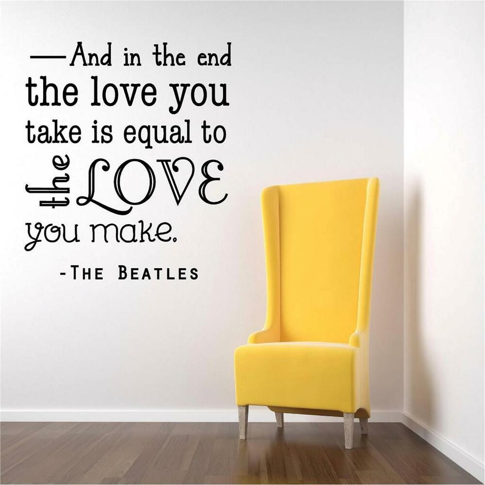 Beatles Quotes Love Wall Decals Beatles Quotes  Color The Walls Of Your House