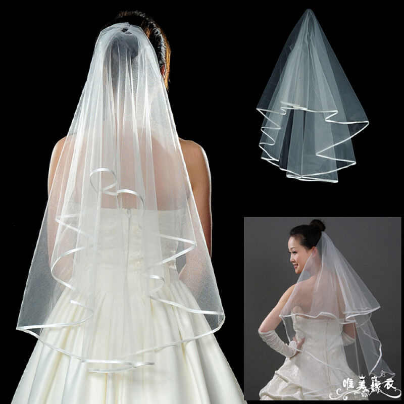 15M Long WhiteampIvory Cheap Wedding Veil Satin Decorative Edge Bridal Accessory