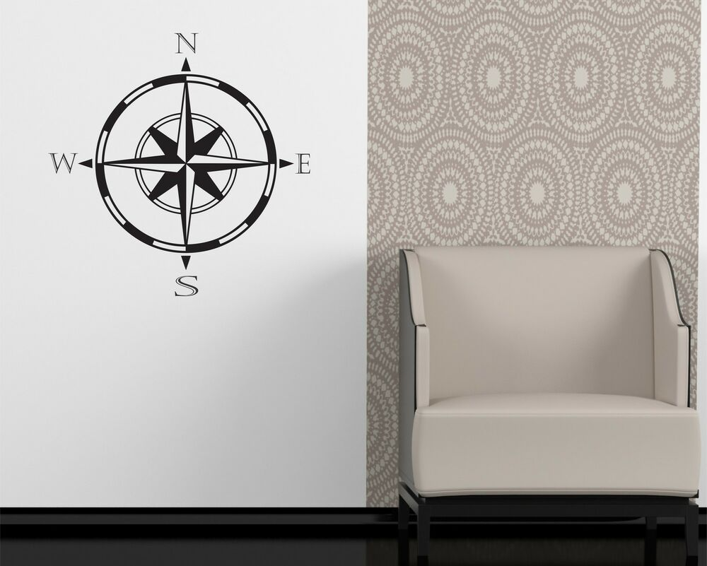 compass wall decal removable sticker lake cottage decor nautical sailing boat ebay. Black Bedroom Furniture Sets. Home Design Ideas