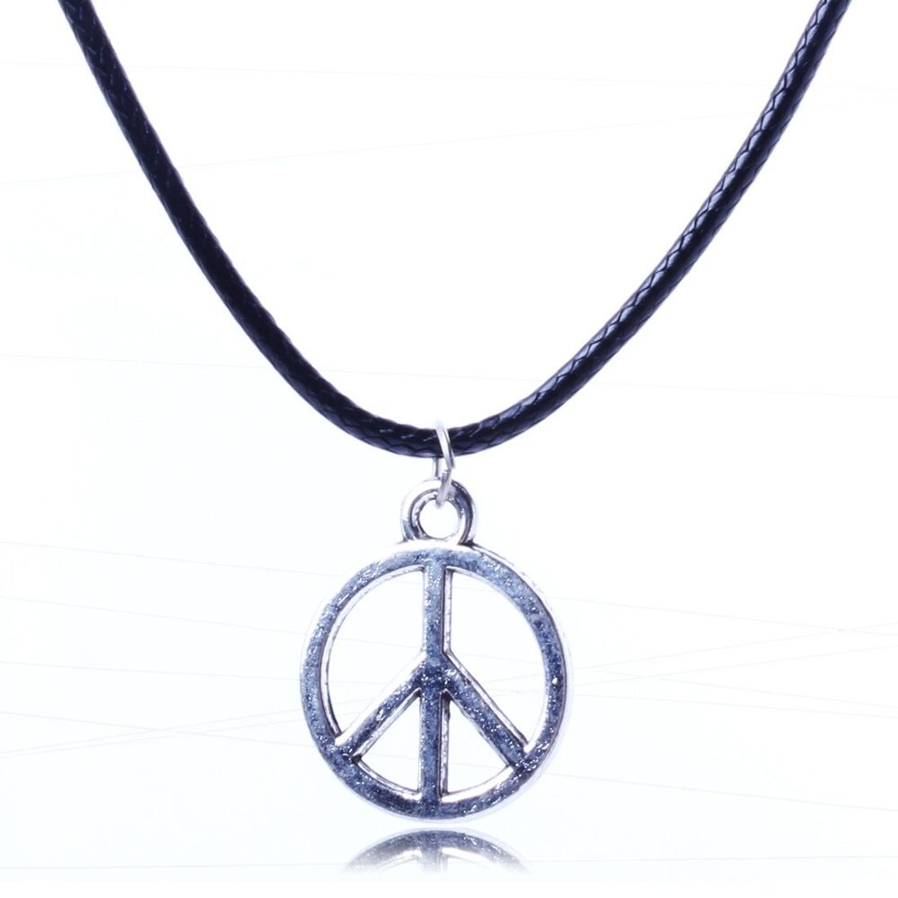 Dangle silver peace sign charm Chain pendant black leather ...