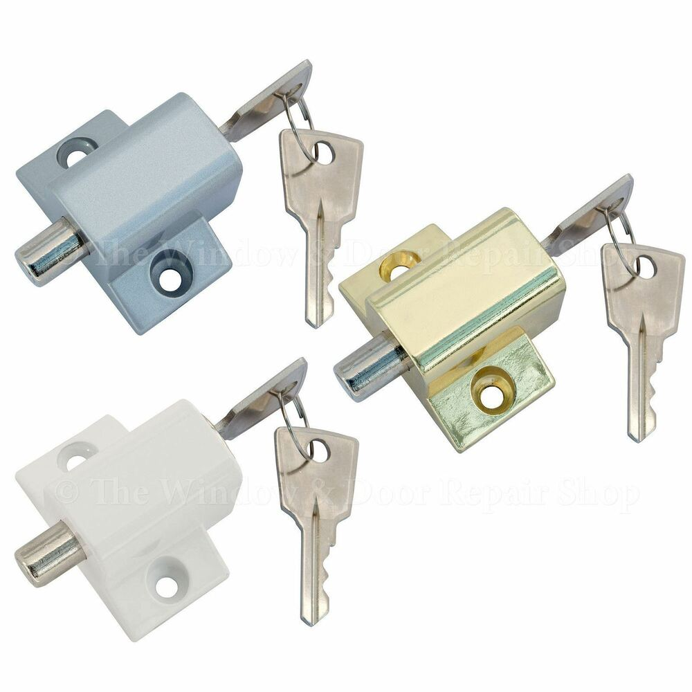 Sliding Patio Door Security Dead Lock Push Catch Bolt 2 Keys Upvc